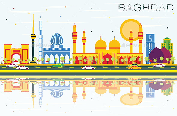 Baghdad Skyline with Color Buildings, Blue Sky and Reflections. - Buildings Objects