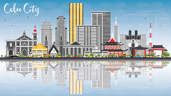 Cebu City Philippines Skyline with Gray Buildings, Blue Sky and Reflections. - Buildings Objects