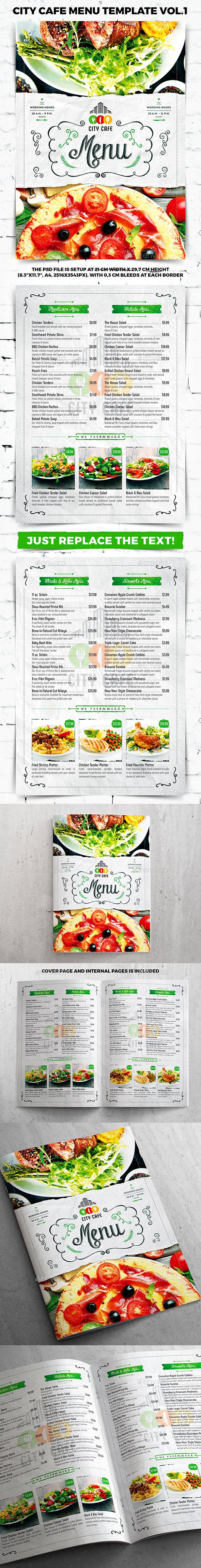 City Cafe Menu Template vol.1 - Food Menus Print Templates