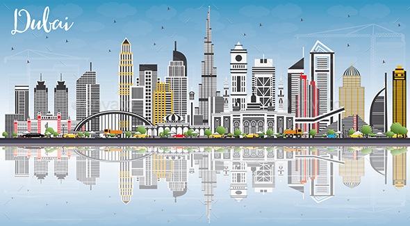 Dubai UAE Skyline with Gray Buildings, Blue Sky and Reflections. - Buildings Objects