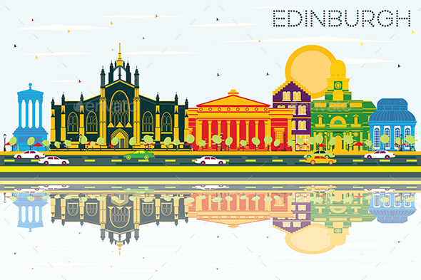 Edinburgh Scotland Skyline with Color Buildings, Blue Sky and Reflections. - Buildings Objects