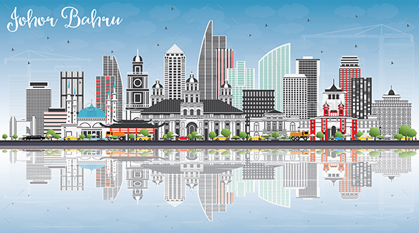 GraphicRiver Johor Bahru Malaysia Skyline with Gray Buildings Blue Sky and Reflections 20531792