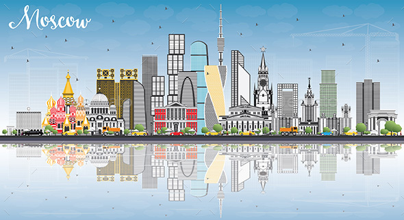 GraphicRiver Moscow Russia Skyline with Gray Buildings Blue Sky and Reflections 20531801