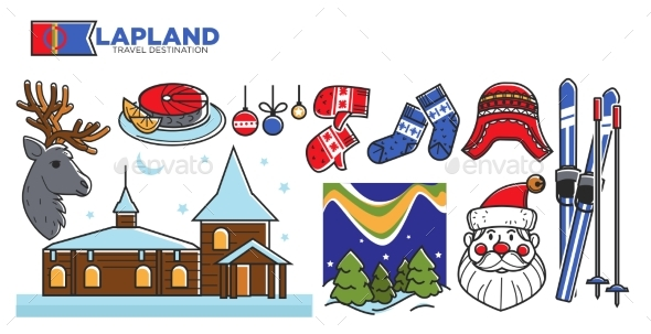 Lapland Travel Destination Promotional Poster - Animals Characters