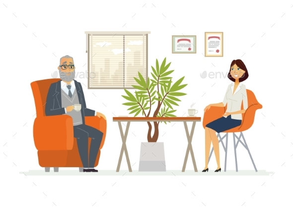 Business Consultation - Modern Vector Cartoon - Concepts Business