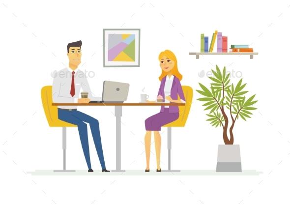 Coffee Break - Modern Vector Cartoon Business - Concepts Business