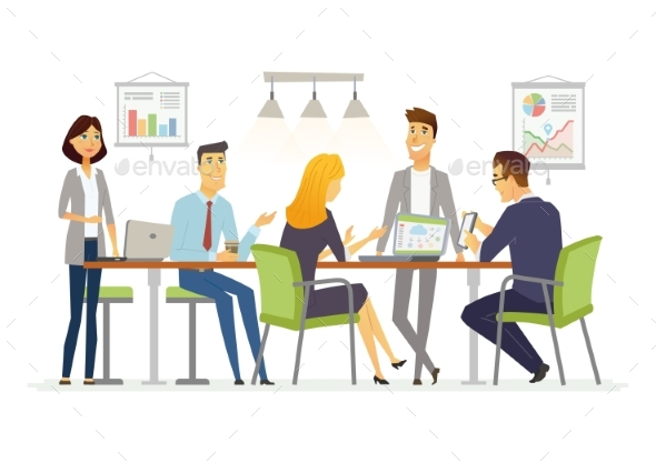 Business Discussion - Modern Vector Cartoon - Concepts Business