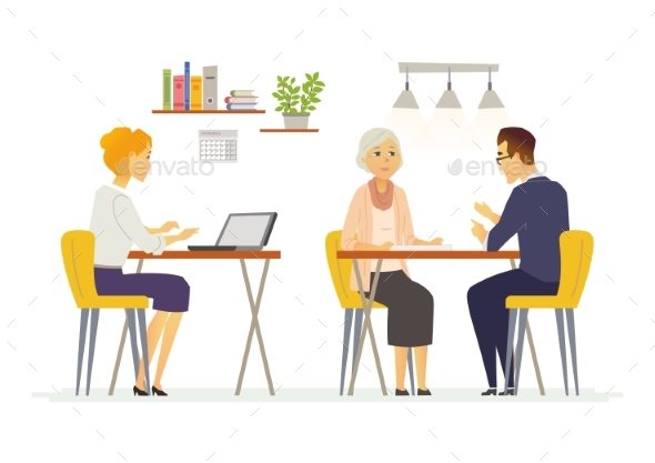 Coffee Room - Modern Vector Cartoon Characters - Concepts Business