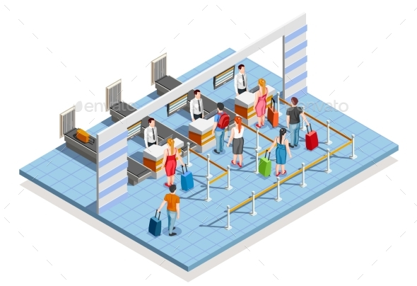 Airport Check-In Area Composition - Buildings Objects