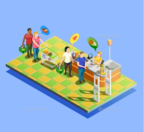 Supermarket Checkout Isometric Composition - Food Objects