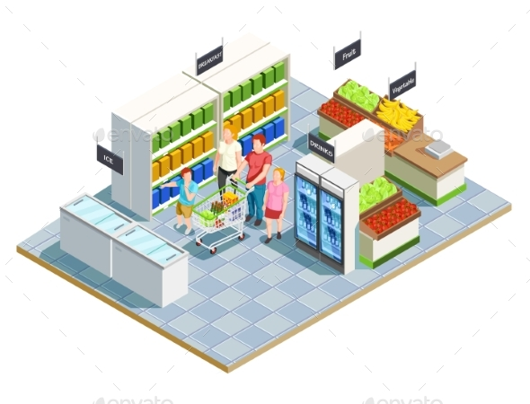 GraphicRiver Convenient Shop Family Composition 20532001