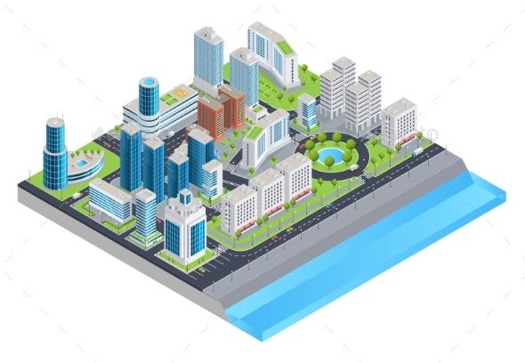 Isometric City Composition - Miscellaneous Vectors