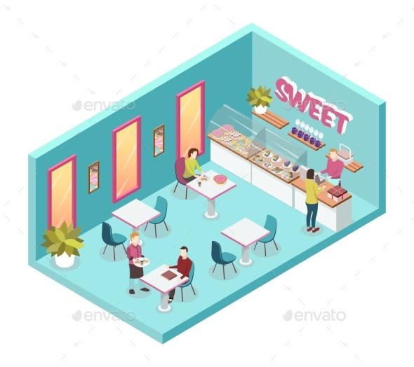 Sweet Shop Inside Isometric Illustration - Food Objects