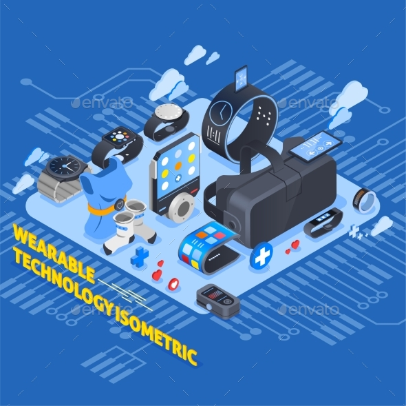 Wearable Technology Isometric Design - Computers Technology
