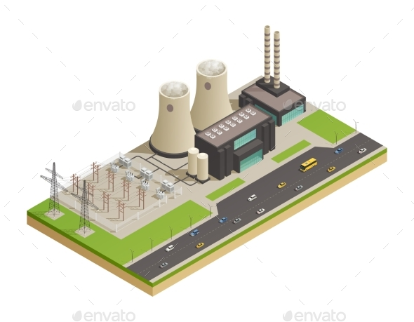 Electric Power Generators Isometric Composition - Industries Business
