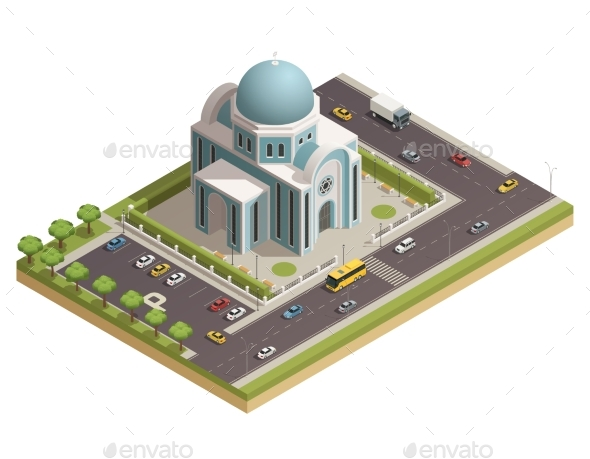 Temple  Building Isometric Composition Poster - Buildings Objects