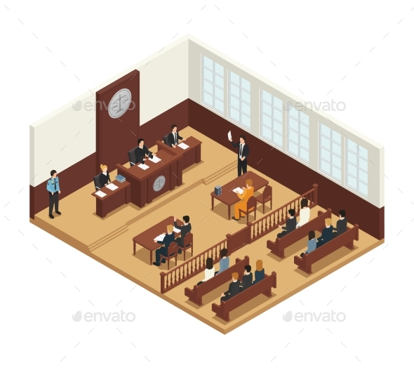 Law Justice Isometric Composition Icon - People Characters