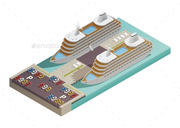 Cruise Liners In Harbor Isometric - Man-made Objects Objects