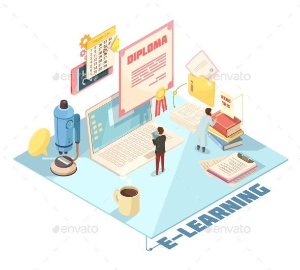 Online Education Isometric Design - Miscellaneous Vectors