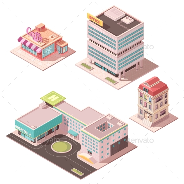 Isometric Buildings Set - Buildings Objects