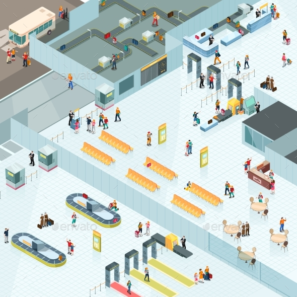 Airport Zones Isometric Design - Buildings Objects