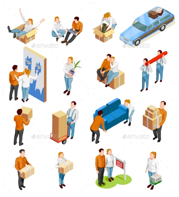 Moving People Isometric Set - Miscellaneous Vectors