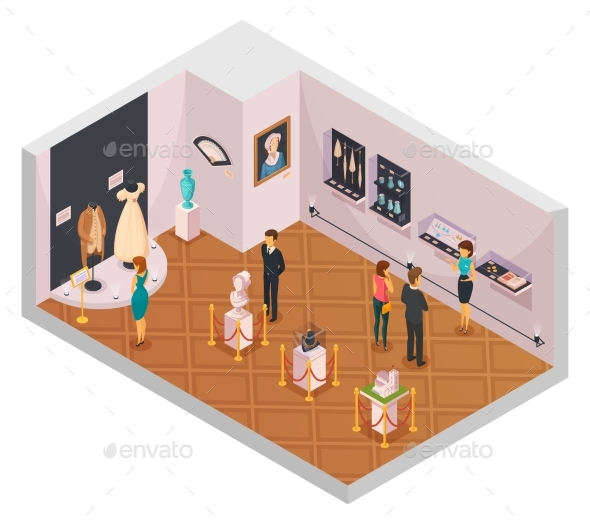 People In Museum Hall Isometric Composition - Miscellaneous Vectors