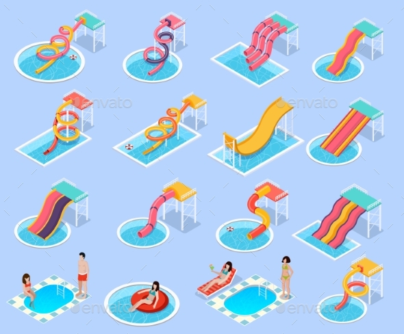 GraphicRiver Water Park Aquapark Isometric Icon Set 20532056