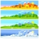 Four Seasons Landscape. Banners with Trees - GraphicRiver Item for Sale