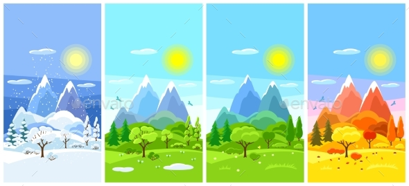 Four Seasons Landscape. Banners with Trees - Seasons Nature