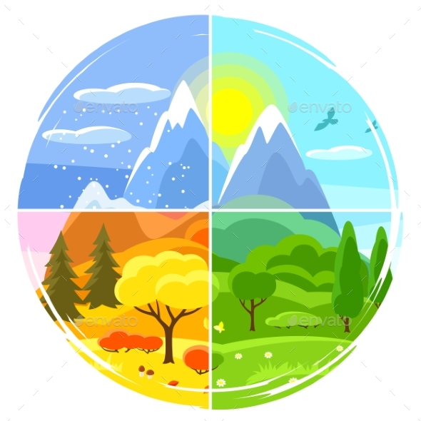 Four Seasons Landscape. Illustrations with Trees - Seasons Nature