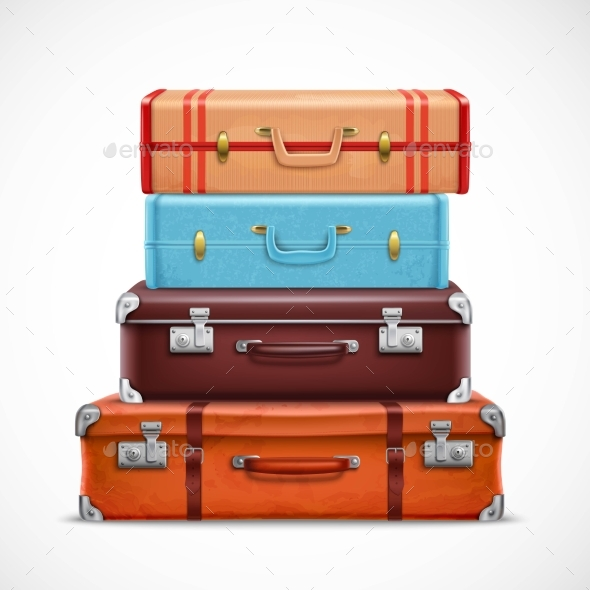 Retro Travel Luggage Suitcases Realistic Set - Miscellaneous Vectors