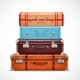 Retro Travel Luggage Suitcases Realistic Set