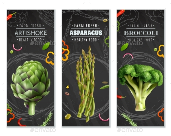 Healthy Food Vertical Banners With Vegetables - Backgrounds Decorative