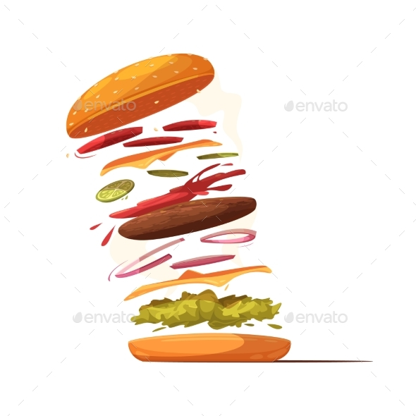 Hamburger Ingredients Design - Food Objects