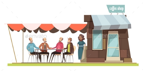 Family In Coffee Shop Design Composition - Miscellaneous Vectors