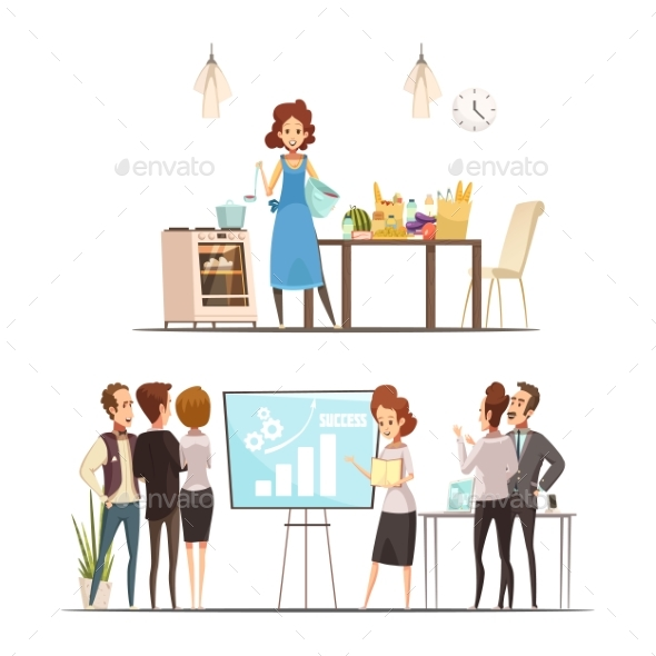 Motherhood Cartoon Work Family Concept - People Characters