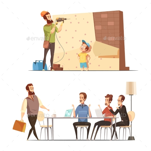 GraphicRiver Fatherhood Cartoon Work Family Concept 20532111