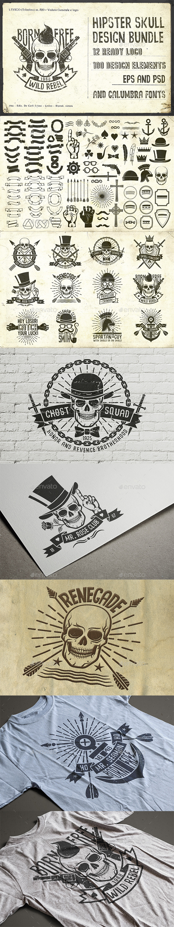 Hipster Skull Design Pack - Tattoos Vectors