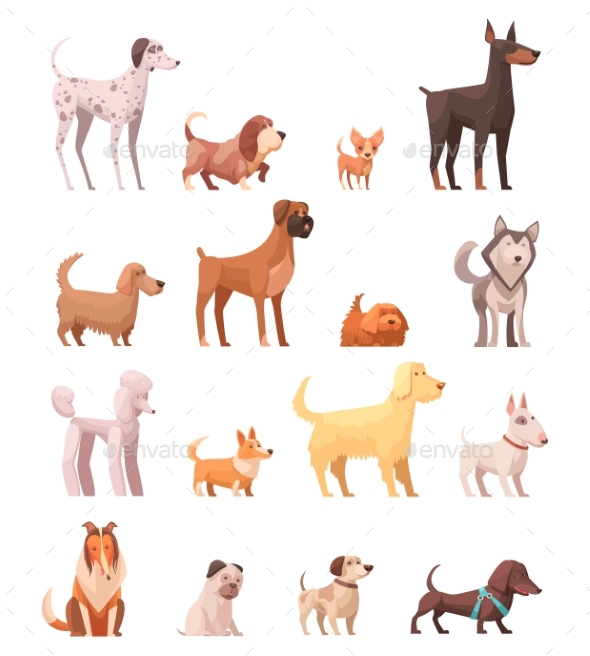 Dog Breeds Retro Cartoon Icons Collection - Animals Characters