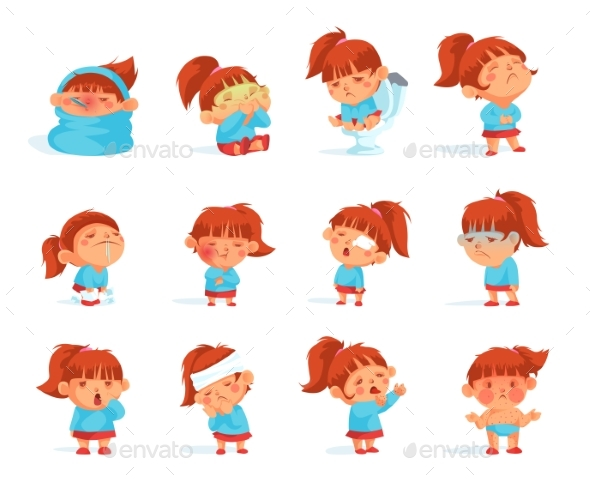 Cartoon Collection Of Sick Child Figurines - People Characters