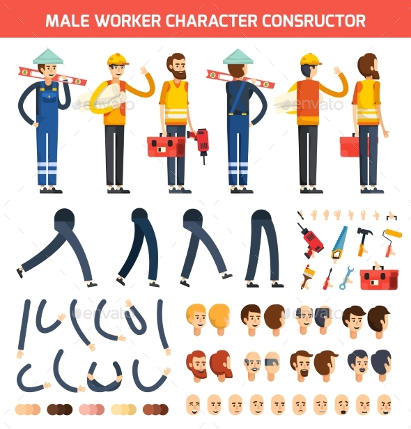 Male Worker Character Constructor Composition - People Characters