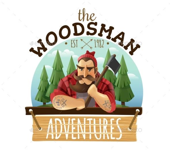 Lumberjack Woodsman Adventures  Logo Icon - People Characters
