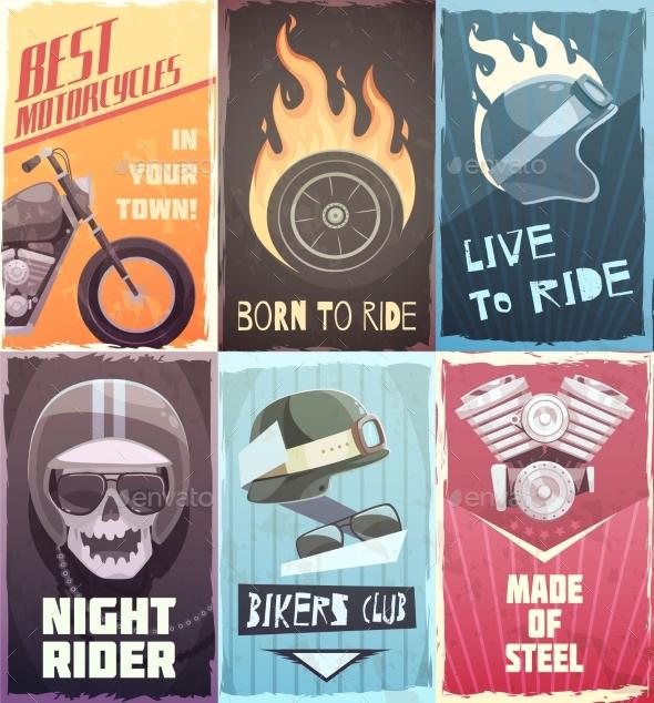 Vintage Biker Posters Collection - Miscellaneous Vectors