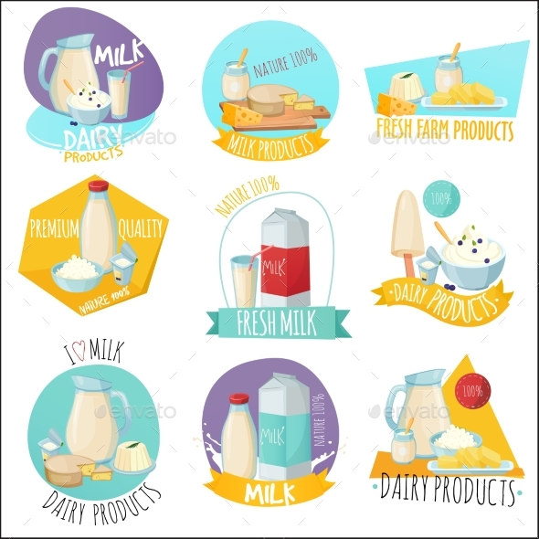 GraphicRiver Dairy Products Set Of Logos 20532160