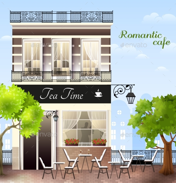 GraphicRiver European House With Cafe Illustration 20532167