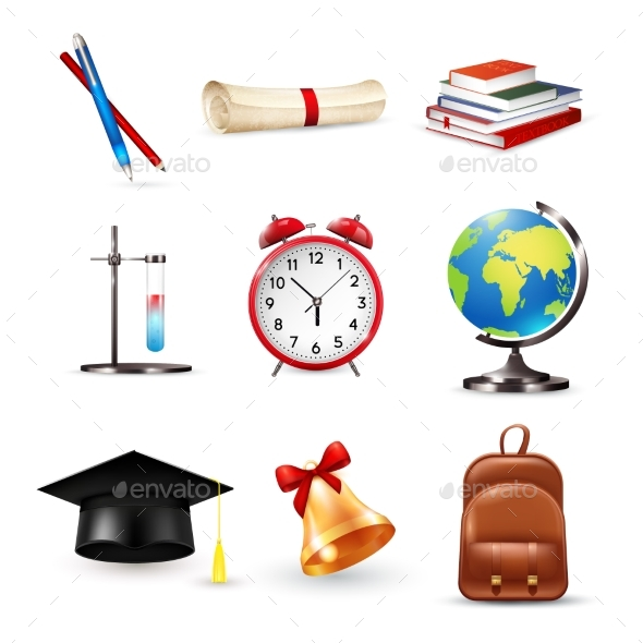 School Accessories Set - Miscellaneous Vectors