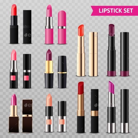 Lipsticks Assortment Realistic Set Transparent - Miscellaneous Vectors