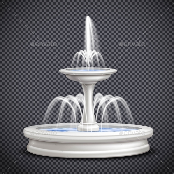 Fountains Realistic Isolated Transparent - Objects Vectors