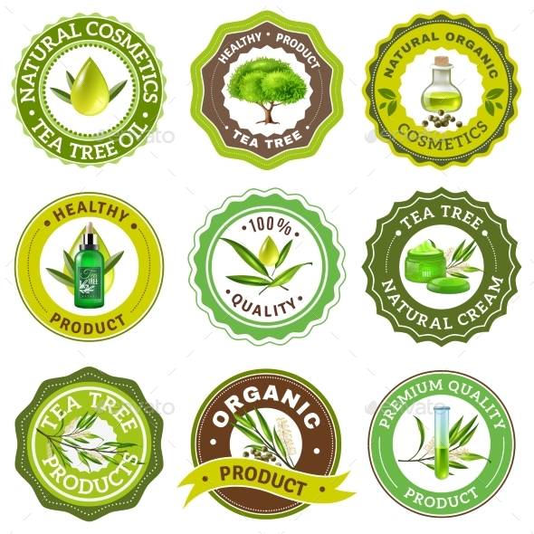 Tea Tree Emblem Set - Miscellaneous Vectors